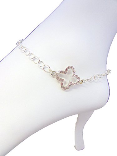 Rhinestone Clover Focal Anklet,Sparkling Rhinestone Cable Chain Anklet,Women Sizable Anklet 8 to 11 -