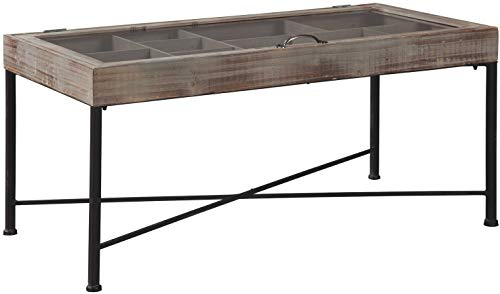 Signature Design by Ashley A4000208 Shellmond Accent Cocktail Table, Antique Gray/Black