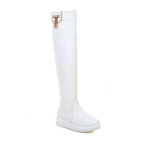 AgooLar Women's High Top Pull On Low Heels Round Closed Toe Boots, White, (Wide Calf Stripper Boots)