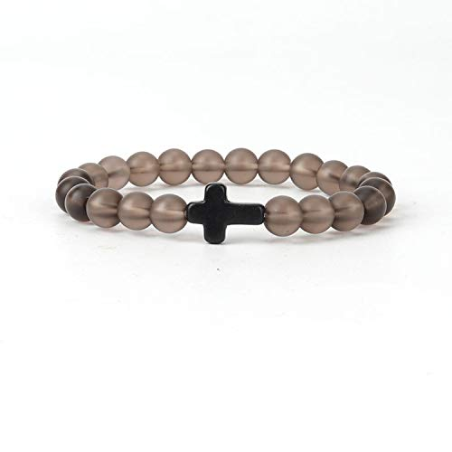 (DLNCTD 9 Colors Optional 8 mm Cross Bracelet Religious Jewelry Jewelry Crystal and Natural Stone Composition Gray Matte Color Bracelet,D15-9)