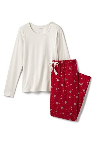 Lands' End Women's Plus Size Knit Flannel Pajama Set, 3X, Rich Red Foil Snowflakes (Pajama Set 3x)