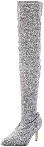 Argenté Fabric Au Genou Buffalo Silver Starlight 00 du Femme Bottes Elastic Dessus zpFT6q