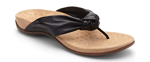 - Vionic Women's Rest Pippa Toepost Sandals - Ladies Leather Knot Flip Flops with Concealed Orthotic Support - Black 6M