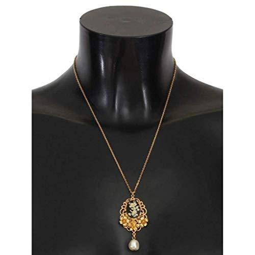 Dolce & Gabbana Gold Necklace - Dolce & Gabbana - Gold Brass Pearl Floral Crystal Necklace