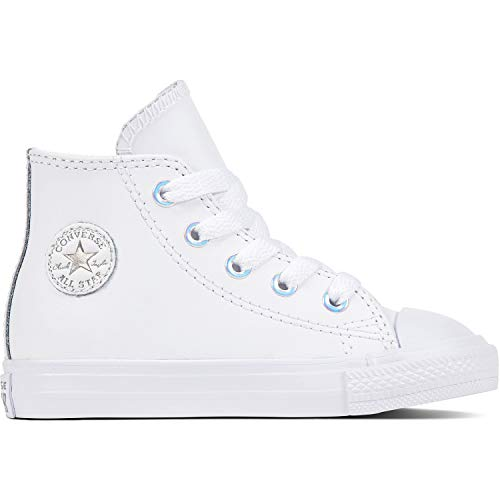 Converse Chuck Taylor All Star Hi White/Metallic Gunmetal Leather 6 M US Infant -