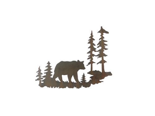 Cabin Wall Art - Young's Laser Cut Metal Bear Wall Art, 22-Inch