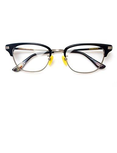 Komehachi - Medium/Large Size Classical Men Browline Wayfarer RX-Ready Eyeglasses Frame Glasses with Clear Lenses - Browline Frames Eyeglass