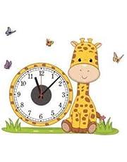 "Fabulous décor - Real Wall Clock Decal with Yellow Giraffe Butterflies for Kids and Nursery Room Art Premium Vinyl Sticker Peel & Stick 24.4""Wx20.1H"