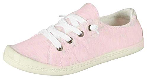 (Forever Link Women's Classic Slip-On Comfort Fashion Sneaker, Pink, 7)