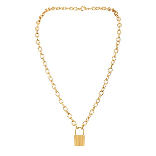 FILOL Women Gold/Silver Color Lock Pendant Necklace Brand Stainless Steel Cable Chain Necklace Jewelry Gift (Gold)