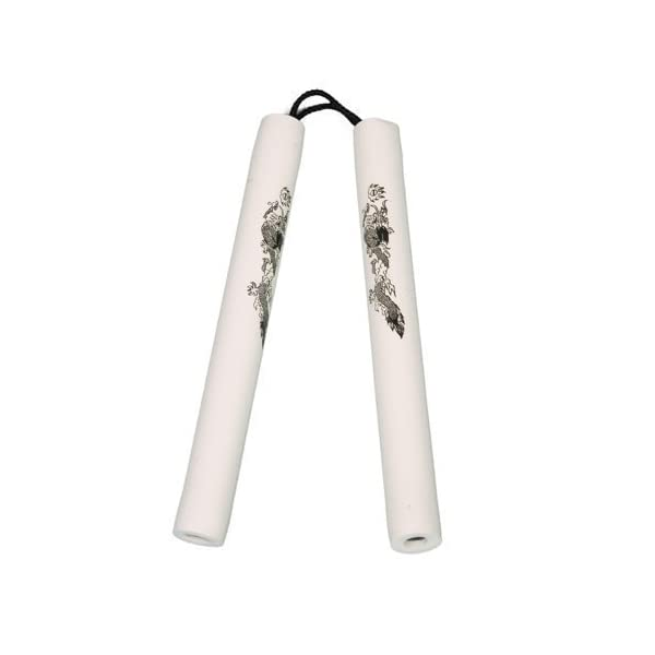 Playwell-Foam-Rubber-Safety-Training-Nunchucks-All-White-Corded