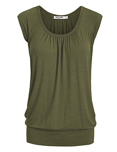(WT1054 Womens Solid Short Sleeve Sweetheart Top XXL Olive)