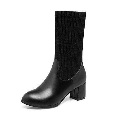 giunto Stivali di casual tonda donna Inverno Stivali kekafu la Chunky similpelle Autunno Scarpe abbigliamento punta punta tallone Split moda maglia Nero da nero in bianco chiusa per xRq7gfq