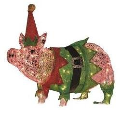 christmas outdoor decorations lawn lights decor ornaments lighted pig