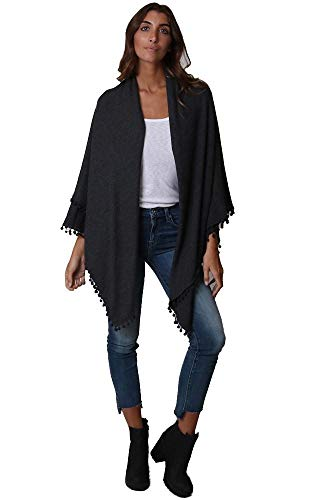 Rayon Jersey Scarf - Michael Stars Women's Madison Brushed Jersey wrap poms, charcoal One Size