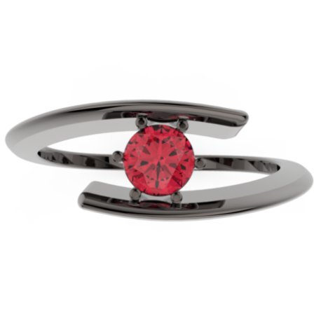 HABY Bagues Argent Rubis Rouge 0,6 Rond
