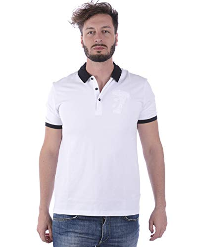 Versace Jeans White Pique Polo T-Shirt (M), White, Size Medium (White Jeans Versace)