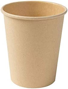 BIOZOYG Compostbare Bio wegwerpbeker eenmalig bruikbaar beker drankbeker wegwerpbeker papieren beker met PLA coating bruin ongebleekt