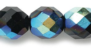 Preciosa Czech Fire 10mm Polished Glass Bead, Faceted Round, Black Aurora Borealis, 60-Pack Shipwreck Beads 10FC509
