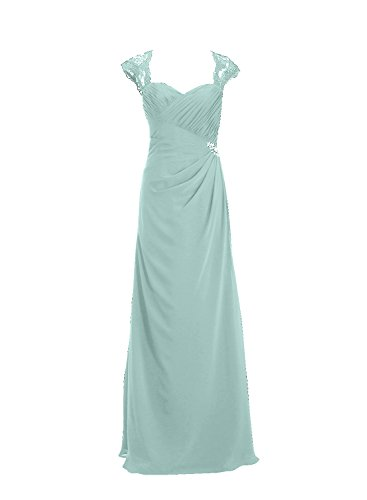 Womens Prom Evening Dresses Gowns Mint Long Chiffon ALAGIRLS Straps Lace Fitted HZqOOd
