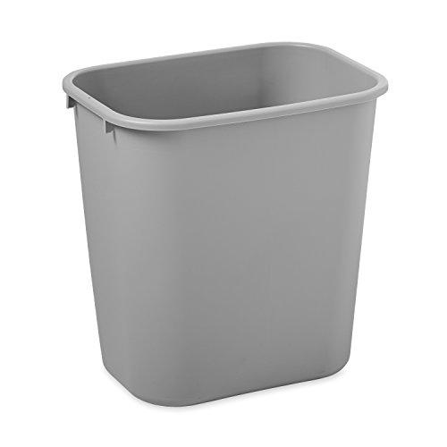 Rubbermaid Commercial FG295600GRAY Plastic Deskside Wastebasket, 28-1/8-quart, Gray