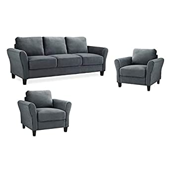 Amazon.com: Home Square Set of 3 Sofa and Accent Chairs in ...