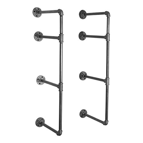 Pipe Decor 3 Tier Industrial Shelves, Vintage Iron DIY Shelving Unit, Rustic Wall Mounted Hanging Bookshelf, Perfect for Garage or Kitchen Storage, Heavy Duty Floating Black Metal Rack Sturdy 35 inch (Units Storage Wall)