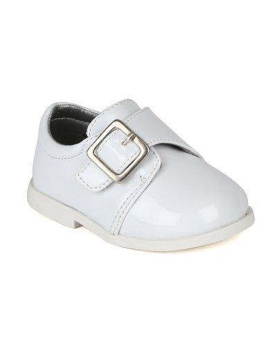 Auston AH59 Leatherette Buckle Strap Dress Church Shoe (Infant / Baby Boy) - White (Size: Toddler 4)]()