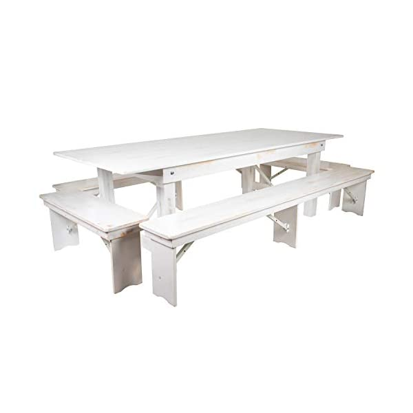 "Flash Furniture HERCULES Series 8' x 40"" Antique Rustic White Folding Farm Table and Four Bench Set"