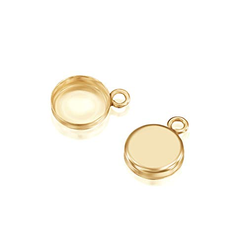 - 14k Gold-Filled Round Setting with 1 Loop 8 mm Bezel Cup Findings for Pendants Charms Earrings, 2 Pcs