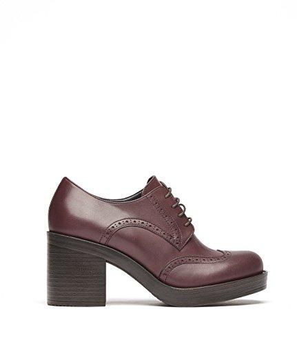 PoiLei Daisy - chaussure femme / bottines à lacets en cuir à talon bloc équilibré - avec bout pointu et détails richelieu rouge