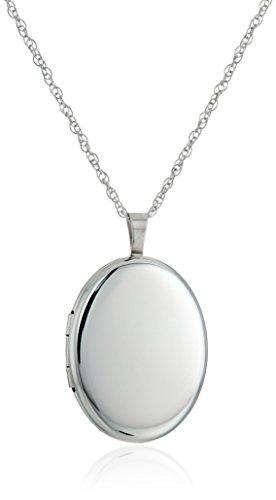 Sterling Silver Polished Locket - Sterling Silver Large Polished Oval Locket Necklace, 30