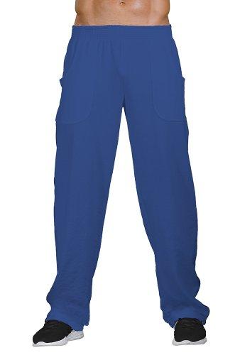 Pitbull Gym Mens Double Striped Workout Pant (M875-Denim/Gold-XL)