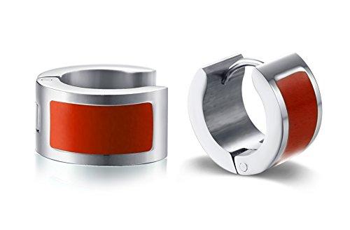 Enamel Huggie Earrings - Stainless Steel Colorful Enamal Small Hoop Huggie Earrings for Women,Red