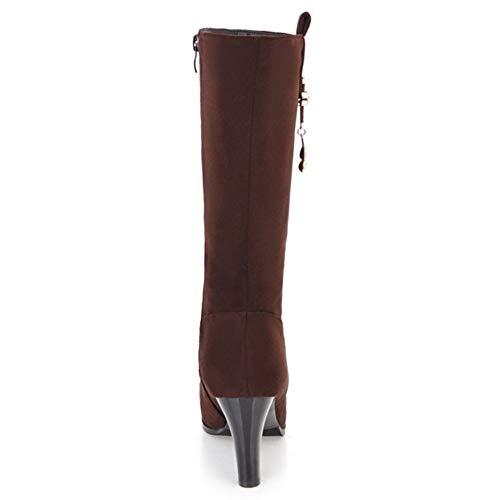 Hiver Boots Femmes Marron Bottes Mi mollet Zipper Taoffen wUqTBB