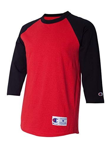 Champion Men's Raglan Baseball T-Shirt, Scarlet/Black, X-Large