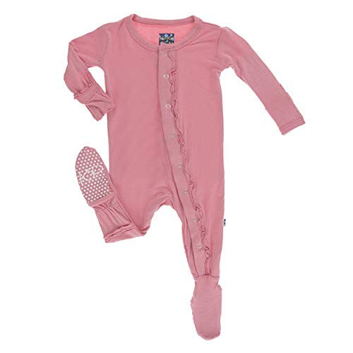 Kickee Pants Little Girls Solid Muffin Ruffle Footie with Snaps - Desert Rose, 6-9 Months ()