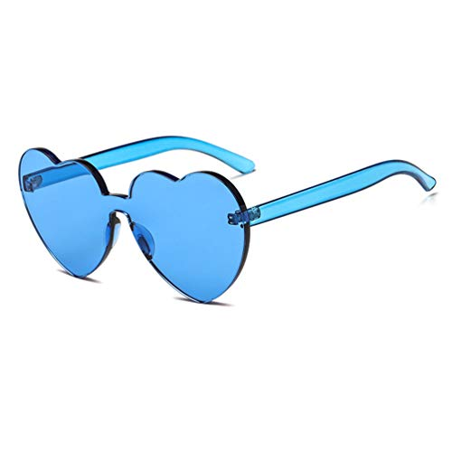 0247865d1a Armear One Piece Heart Shaped Rimless Tinted Sunglasses Transparent Colored  Lens