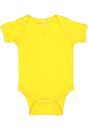Rabbit Skins Infant 100% Cotton Baby Rib Lap Shoulder Short Sleeve Bodysuit (Yellow, 12 Months)