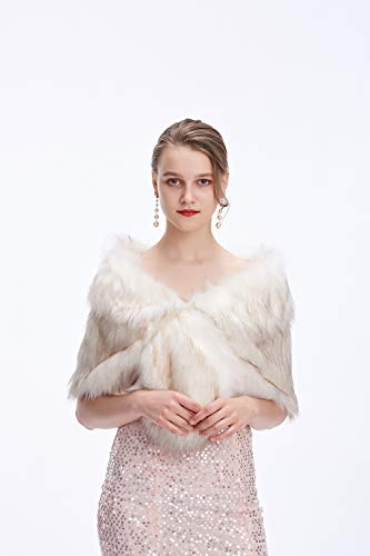 Fur Wedding Shawl,Elegant Faux Fur Wraps Shrug Stole Bridal and Bridesmaids Fur Cover Up,White and Brown,Rex Rabbit -