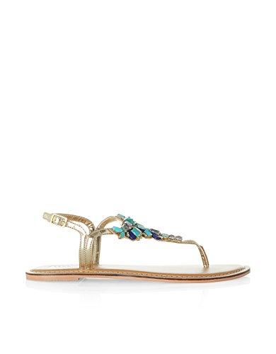 Accessorize Womens Alethia Stone Thong Sandals Size US 7 Shoe Blue