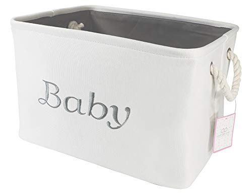 Baby Baskets Storage (Storage Basket for Nursery, Baby girl or boy, White Canvas fabric Storage Bin with Gray Embroidering. Perfect as Nursery Organizer and Storage, Decorative storage box. Great Baby Shower Basket idea.)