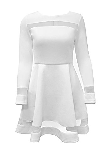 LookbookStore-Womens-A-Line-Skater-Long-Sleeves-Mesh-Panel-Flare-Casual-Dress