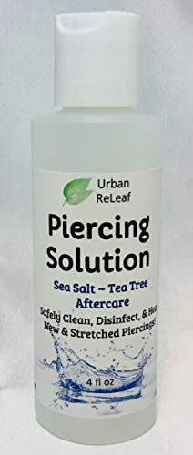 Piercing Solution ! Healing Sea Salts & Tea Tree AFTERCARE 4 oz, Ready to use. Safely Clean, Disinfect & Heal New & Stretched Piercings. Gentle Effective Natural & Soothing. Works Fast