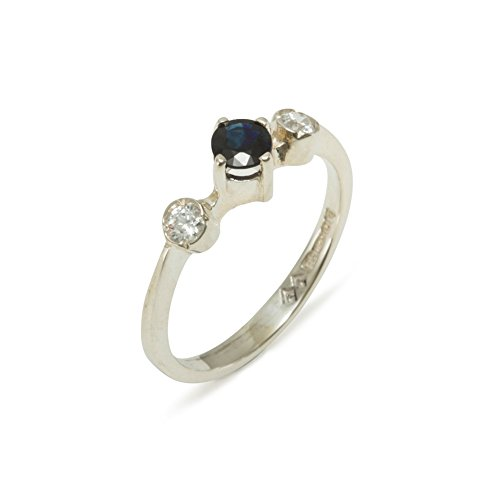 925 Sterling Silver Natural Sapphire & Diamond Womens Trilogy Ring (0.11 cttw, H-I Color, I2-I3 Clarity) by LetsBuySilver