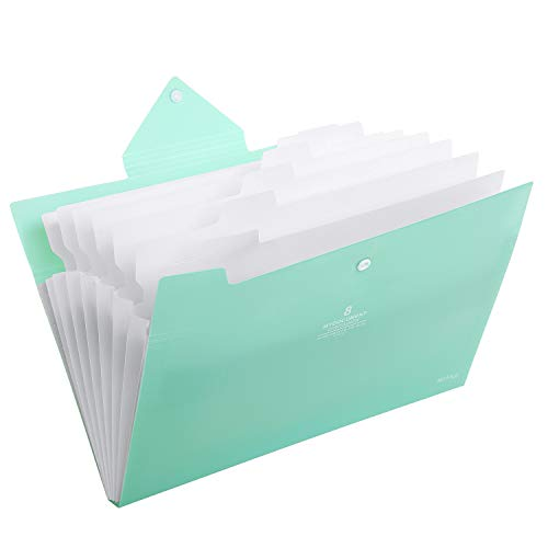Skydue Office File Folders with 8 Pockets Letter Size Expanding Accordion Document Paper File Organizer (Light Blue)