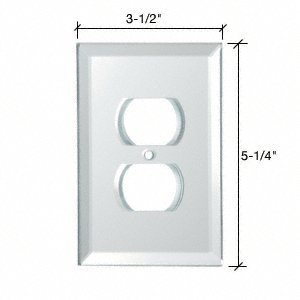 Duplex Plug Back Painted Glass Cover Plate - White