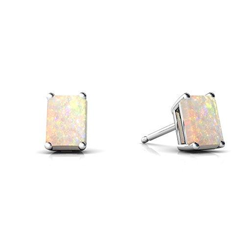 Emerald 14kt Gold 6x4 (14kt White Gold Opal 6x4mm Emerald_Cut Emerald-Cut Stud Earrings)