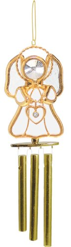Angel W/ Heart Stained Glass Wind Chime - White