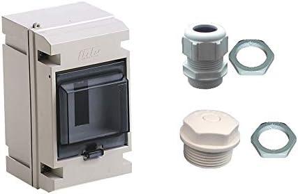 Entr/ée de c/âble /en set incl AP /Électrique Petit distributeur 4/ème IP65/Bo/îte /à fusibles /électriques Gris 1/rang/ée/